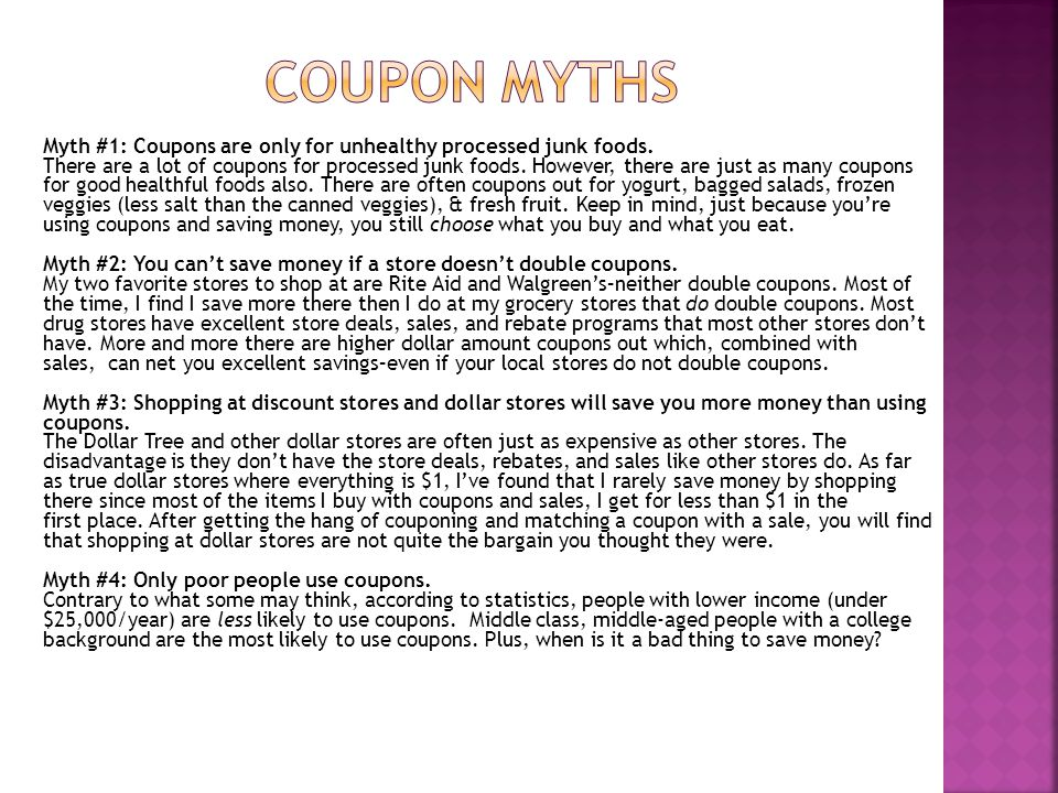 Myth #1: Coupons are only for unhealthy processed junk foods.