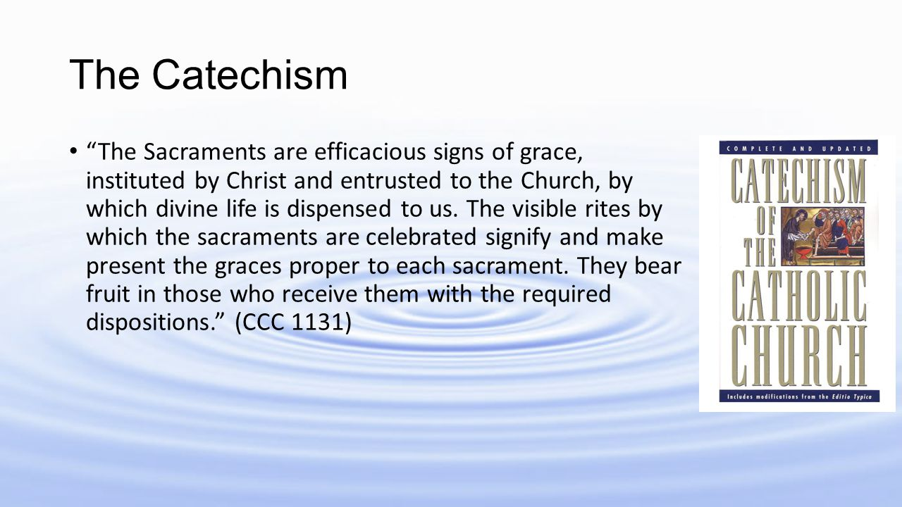 "The Catechism ""The Sacraments are efficacious signs of grace, instituted by Christ and entrusted to the Church, by which divine life is dispensed to u"