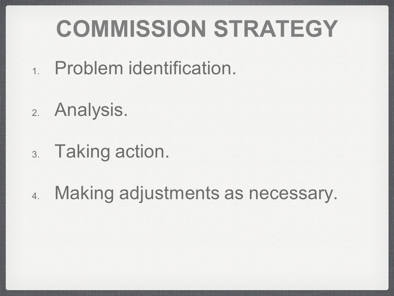 COMMISSION STRATEGY 1.Problem identification. 2. Analysis.