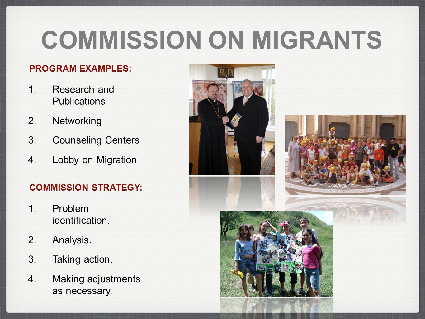 COMMISSION ON MIGRANTS COMMISSION STRATEGY: 1.Problem identification. 2.Analysis. 3.Taking action. 4.Making adjustments as necessary. PROGRAM EXAMPLES