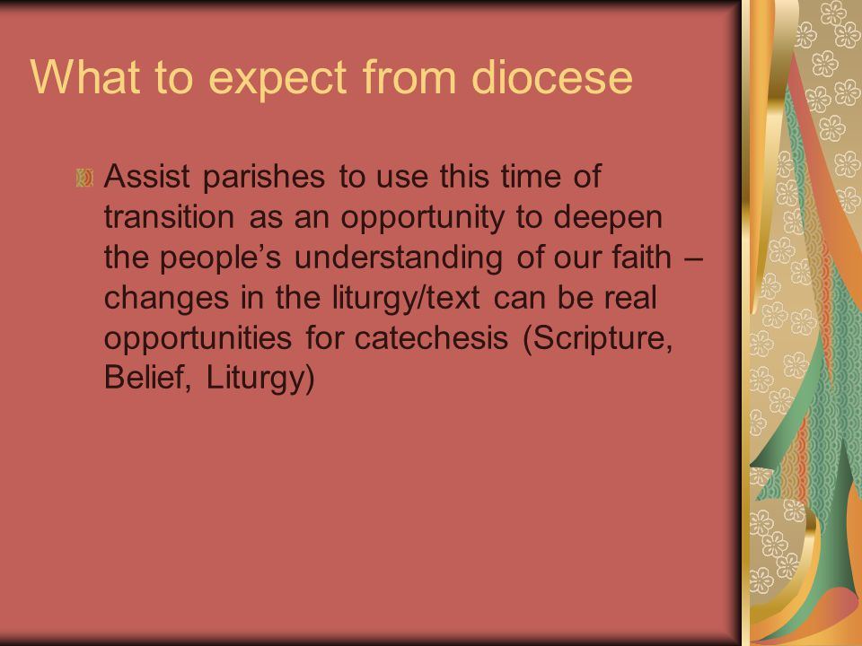 What to expect from diocese Assist parishes to use this time of transition as an opportunity to deepen the people's understanding of our faith – changes in the liturgy/text can be real opportunities for catechesis (Scripture, Belief, Liturgy)