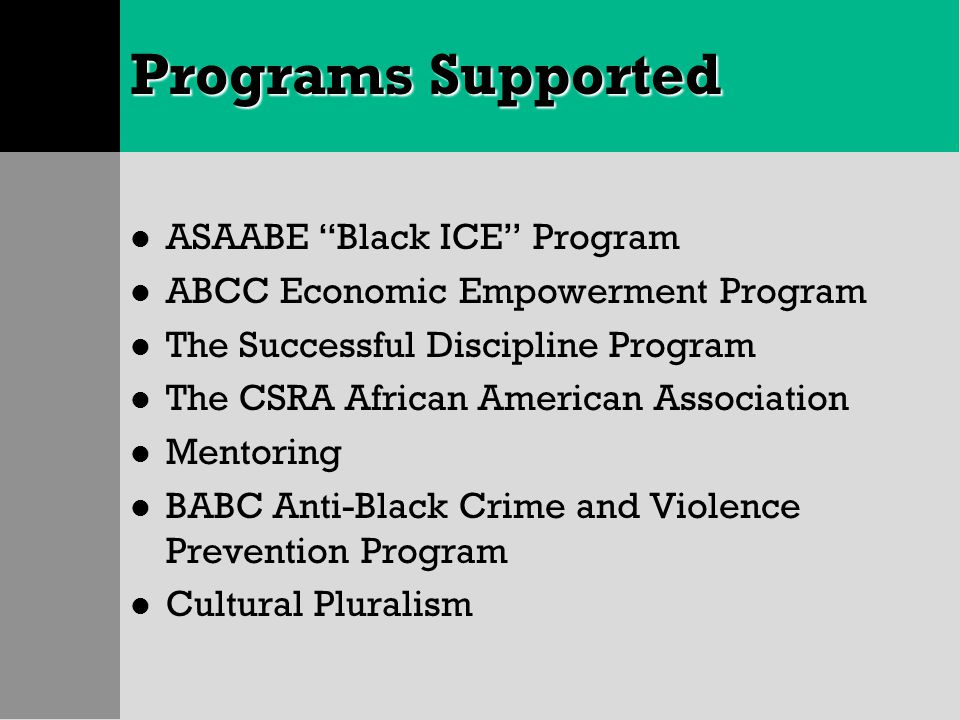 "Programs Supported l ASAABE ""Black ICE"" Program l ABCC Economic Empowerment Program l The Successful Discipline Program l The CSRA African American As"