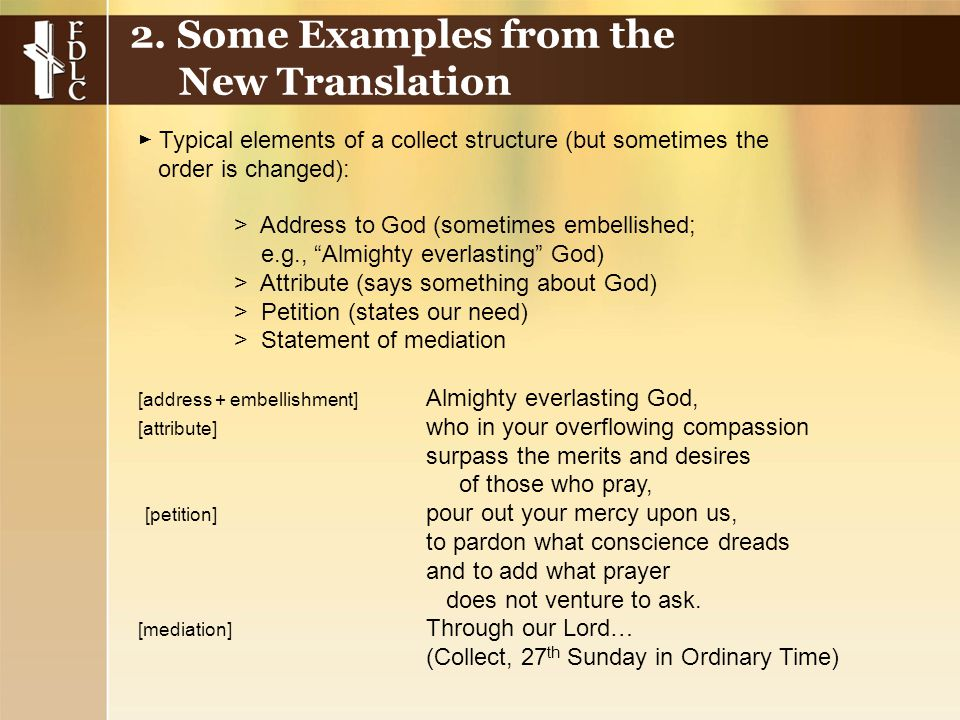 """> Address to God (sometimes embellished; e.g., """"Almighty everlasting"""" God) > Attribute (says something about God) > Petition (states our need) > State"""