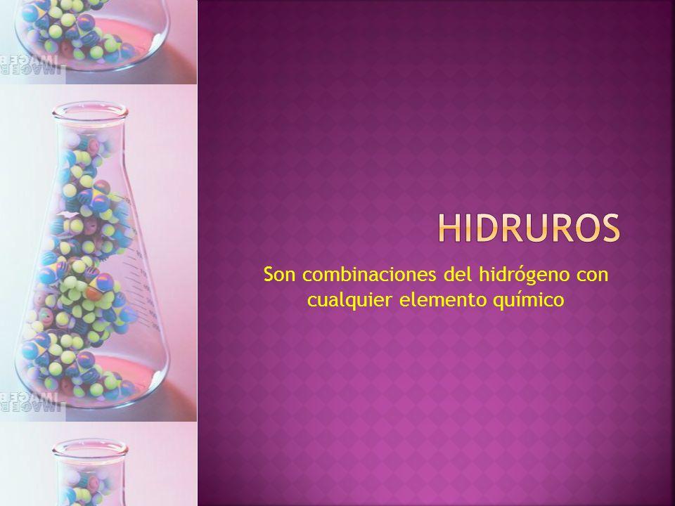 CompuestoSistemáticaStock (IUPAC)Tradicional CaH 2 dihidruro de calciohidruro de calciohidruro cálcico LiHhidruro de litio hidruro lítico FeH 3 trihidruro de hierrohidruro de hierro (III)hidruro férrico SrH 2 dihidruro de estronciohidruro de estroncio Es la combinación del hidrógeno (-1) con un metal.
