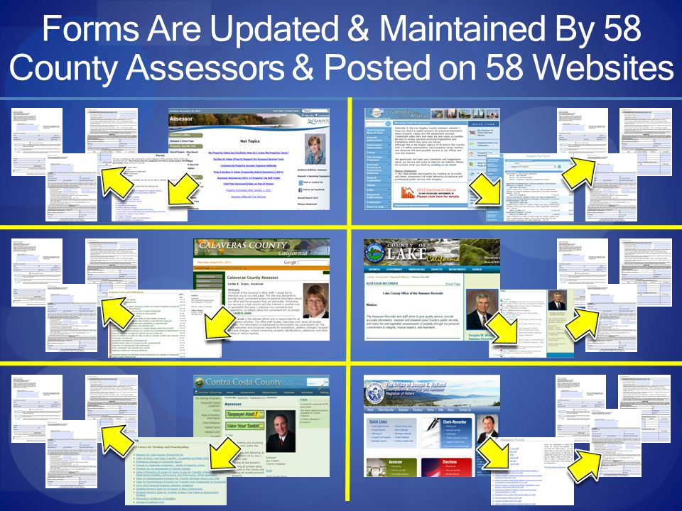 Forms Are Updated & Maintained By 58 County Assessors & Posted on 58 Websites
