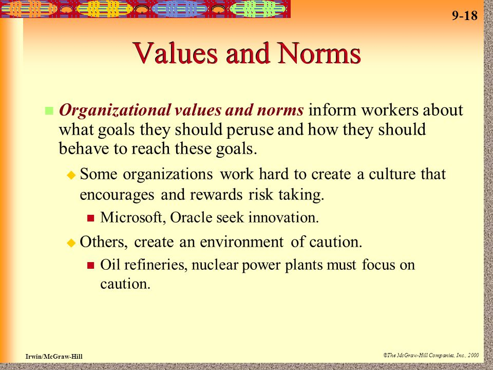 9-18 Irwin/McGraw-Hill ©The McGraw-Hill Companies, Inc., 2000 Values and Norms Organizational values and norms inform workers about what goals they should peruse and how they should behave to reach these goals.
