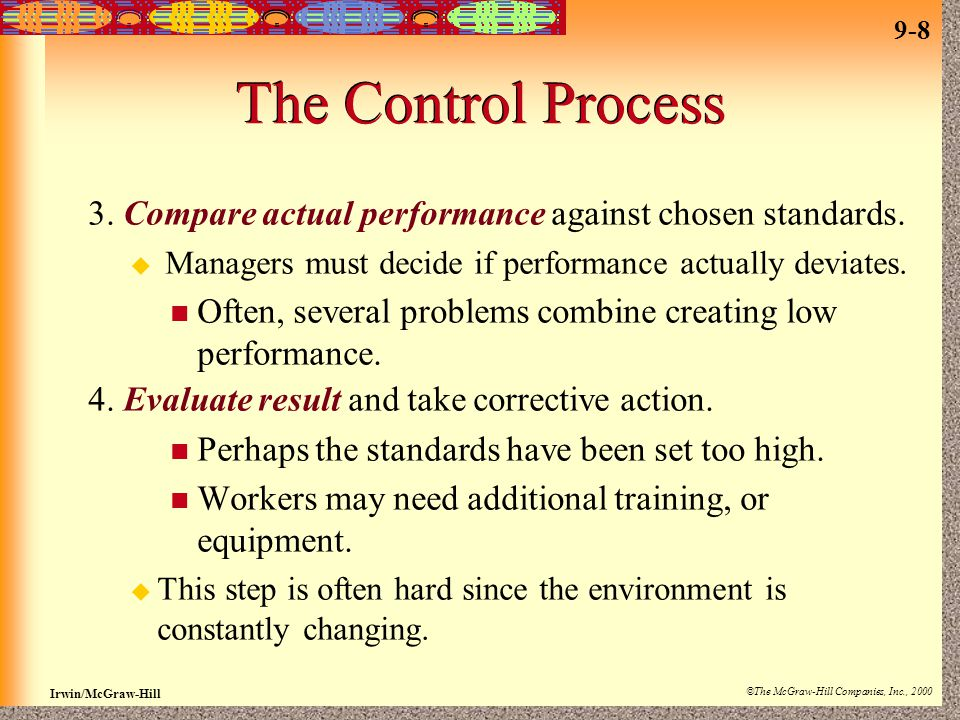 9-8 Irwin/McGraw-Hill ©The McGraw-Hill Companies, Inc., 2000 The Control Process 3.