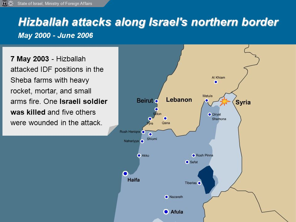 State of Israel, Ministry of Foreign Affairs Hizballah attacks along Israel s northern border Hizballah attacks along Israel s northern border May 2000 - June 2006 7 May 2003 - Hizballah attacked IDF positions in the Sheba farms with heavy rocket, mortar, and small arms fire.