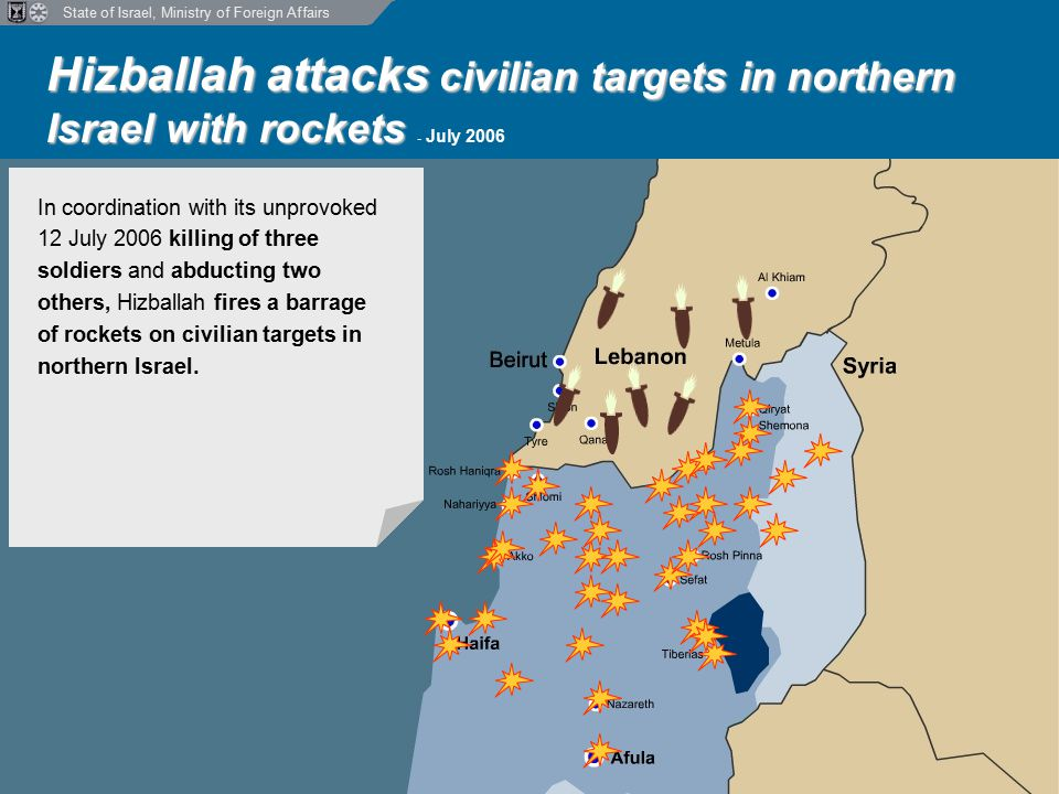 State of Israel, Ministry of Foreign Affairs Hizballah attacks civilian targets in northern Israel with rockets Hizballah attacks civilian targets in northern Israel with rockets - July 2006 In coordination with its unprovoked 12 July 2006 killing of three soldiers and abducting two others, Hizballah fires a barrage of rockets on civilian targets in northern Israel.