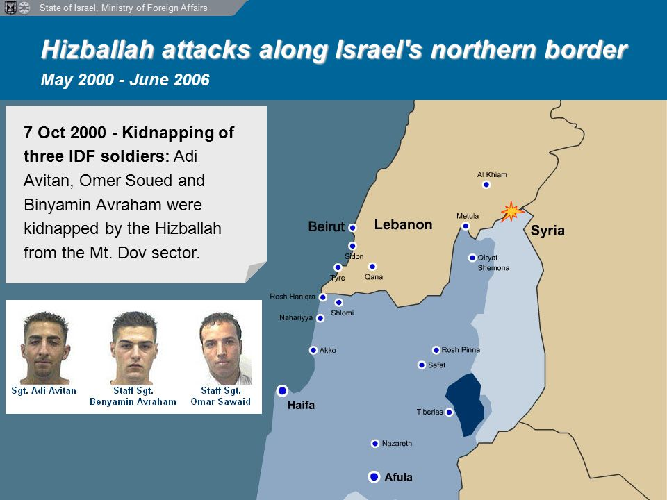 State of Israel, Ministry of Foreign Affairs Hizballah attacks along Israel s northern border Hizballah attacks along Israel s northern border May 2000 - June 2006 7 Oct 2000 - Kidnapping of three IDF soldiers: Adi Avitan, Omer Soued and Binyamin Avraham were kidnapped by the Hizballah from the Mt.