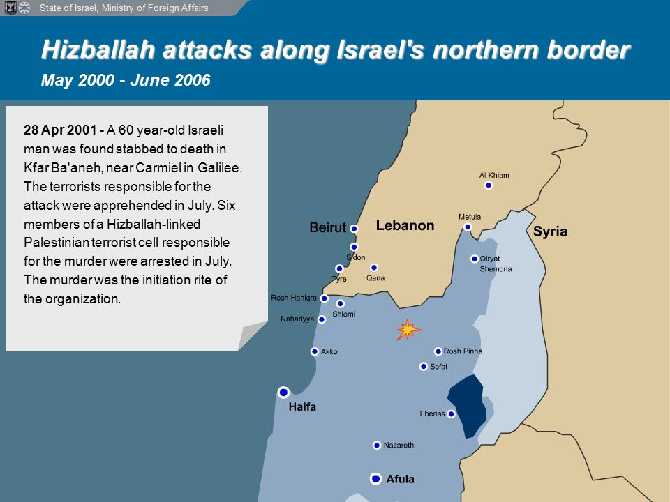 State of Israel, Ministry of Foreign Affairs Hizballah attacks along Israel s northern border Hizballah attacks along Israel s northern border May 2000 - June 2006 28 Apr 2001 - A 60 year-old Israeli man was found stabbed to death in Kfar Ba aneh, near Carmiel in Galilee.