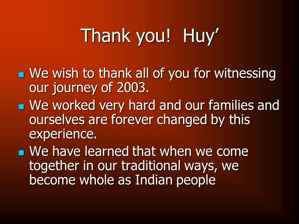 Thank you.Huy' We wish to thank all of you for witnessing our journey of 2003.