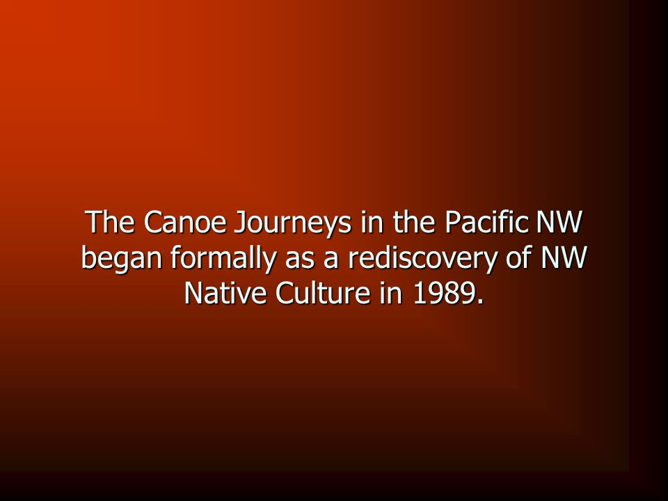 The Canoe Journeys in the Pacific NW began formally as a rediscovery of NW Native Culture in 1989.