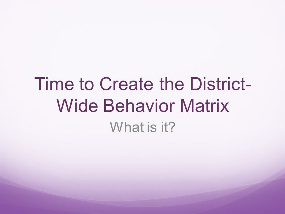 Time to Create the District- Wide Behavior Matrix What is it