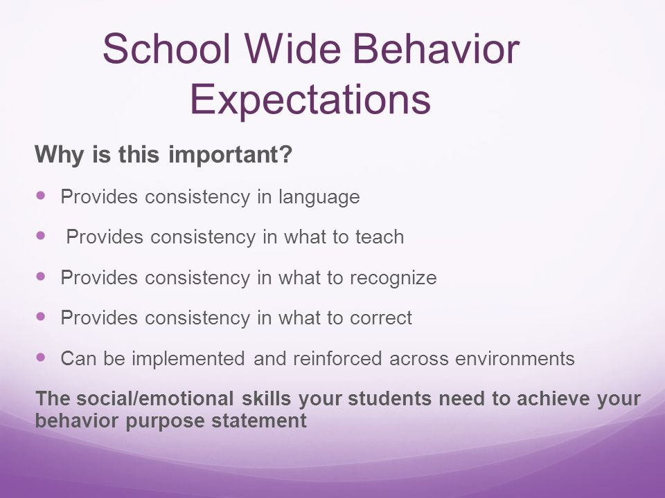 School Wide Behavior Expectations Why is this important.
