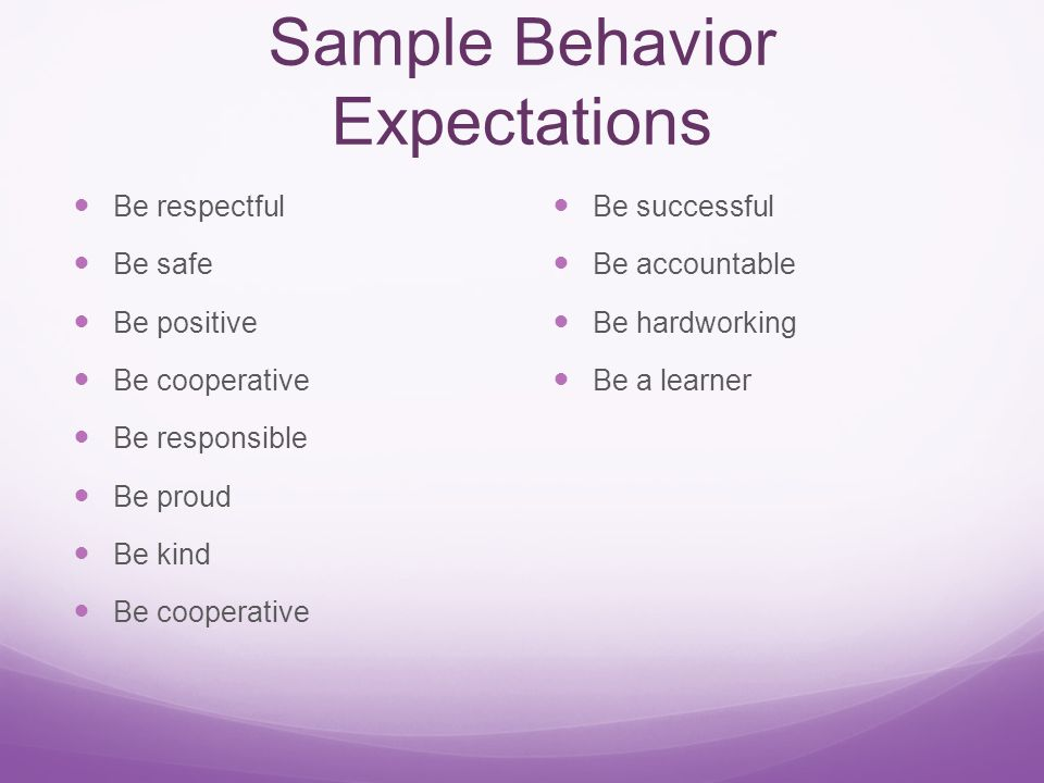 Sample Behavior Expectations Be respectful Be safe Be positive Be cooperative Be responsible Be proud Be kind Be cooperative Be successful Be accountable Be hardworking Be a learner