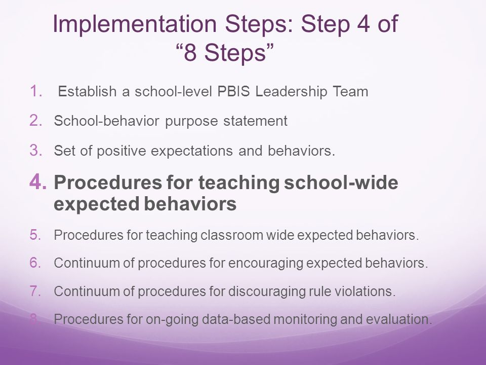 Implementation Steps: Step 4 of 8 Steps 1. Establish a school-level PBIS Leadership Team 2.