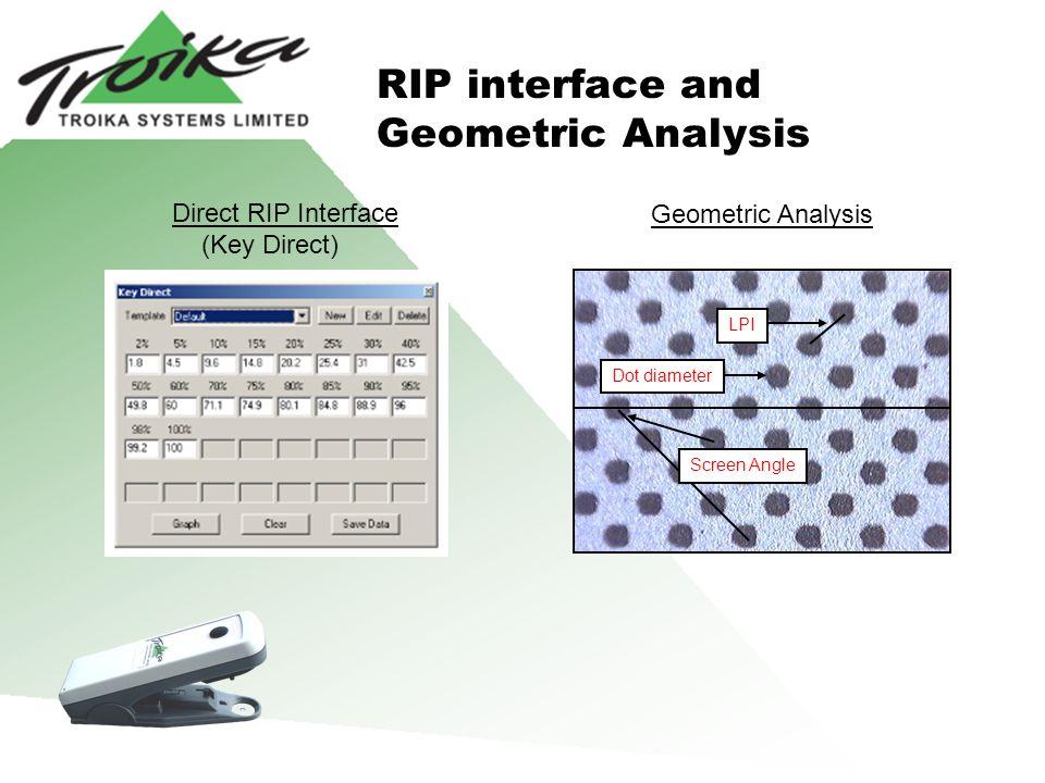 Geometric Analysis Dot diameter Screen Angle LPI RIP interface and Geometric Analysis Direct RIP Interface (Key Direct)