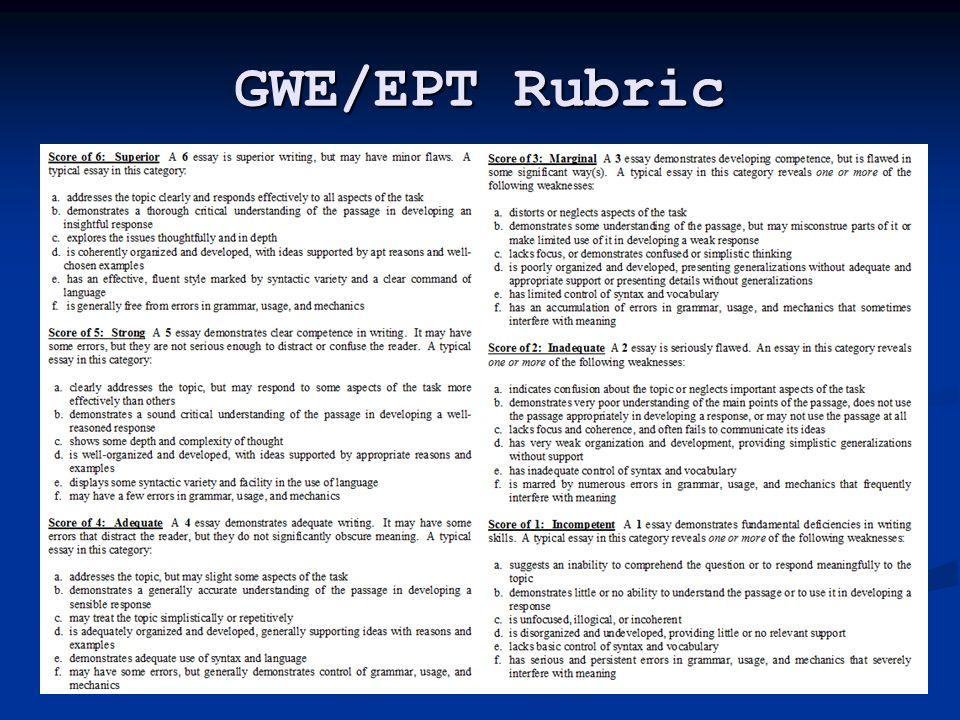 GWE/EPT Rubric
