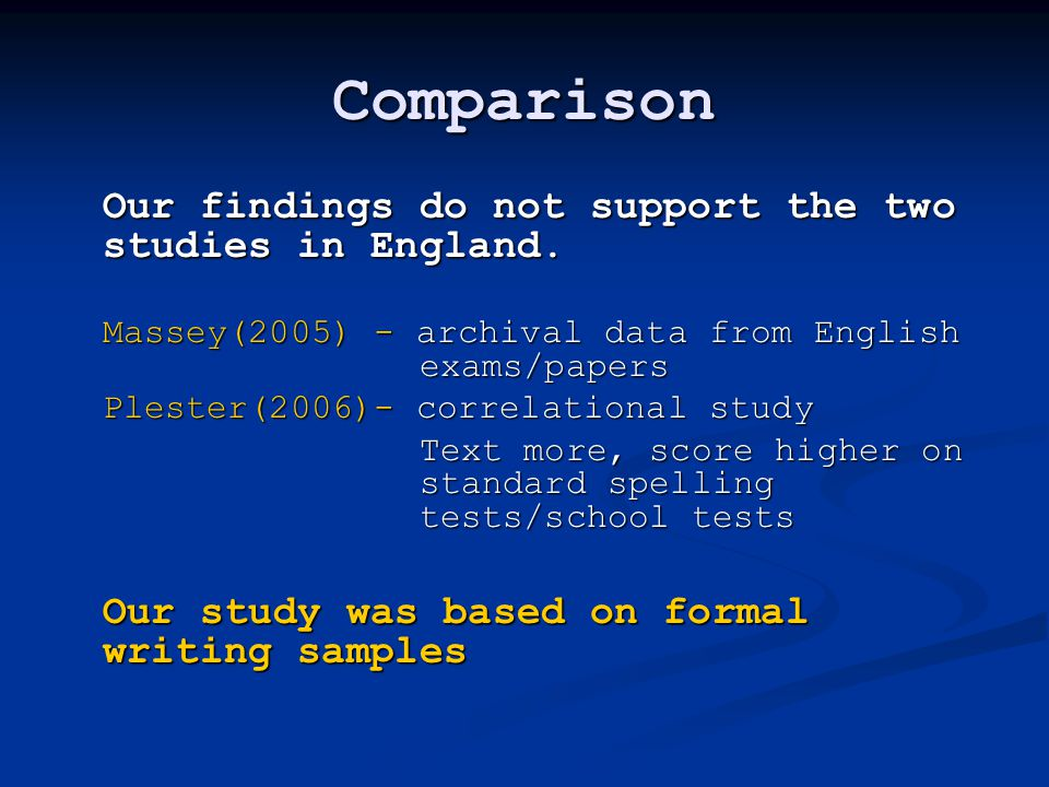Comparison Our findings do not support the two studies in England.