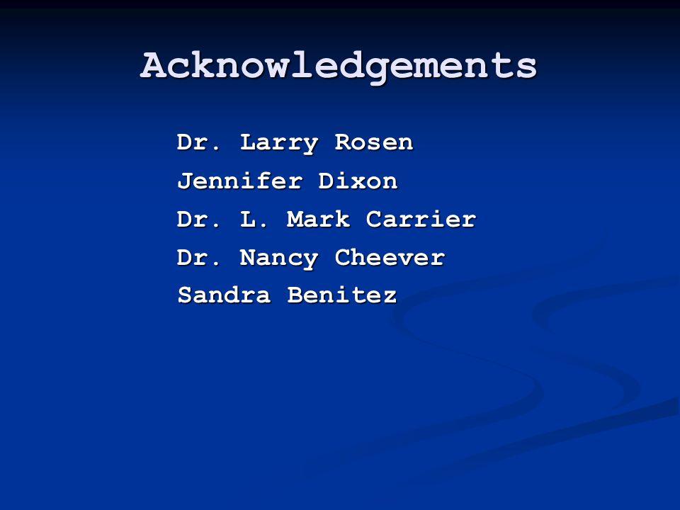 Acknowledgements Dr. Larry Rosen Jennifer Dixon Dr.