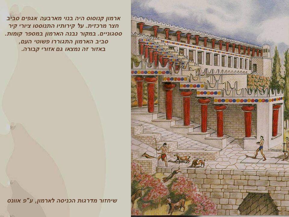 שיחזור מדרגות הכניסה לארמון, ע פ אוונס ארמון קנוסוס היה בנוי מארבעה אגפים סביב חצר מרכזית.