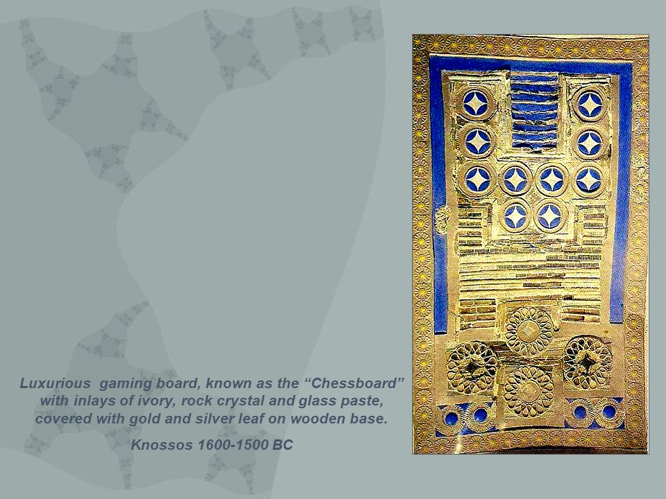 Luxurious gaming board, known as the Chessboard with inlays of ivory, rock crystal and glass paste, covered with gold and silver leaf on wooden base.
