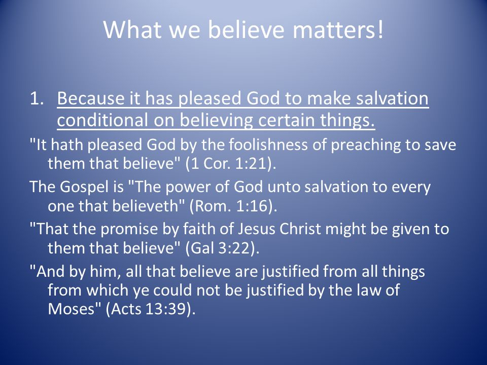 What we believe matters.
