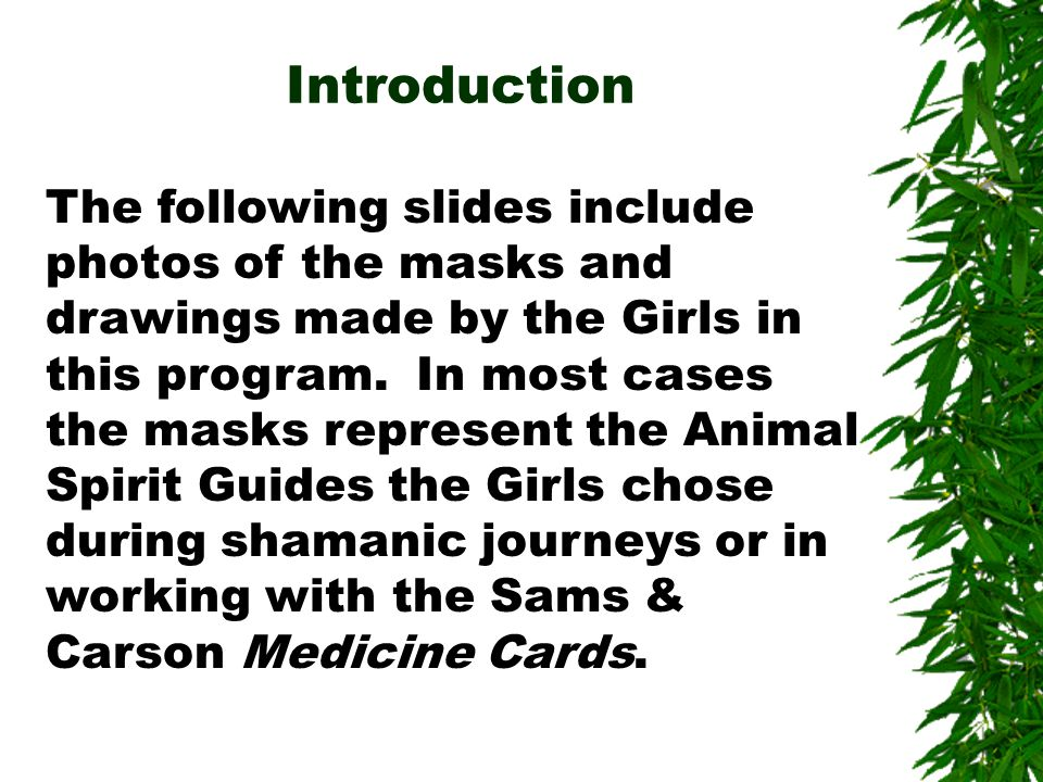 The following slides include photos of the masks and drawings made by the Girls in this program.