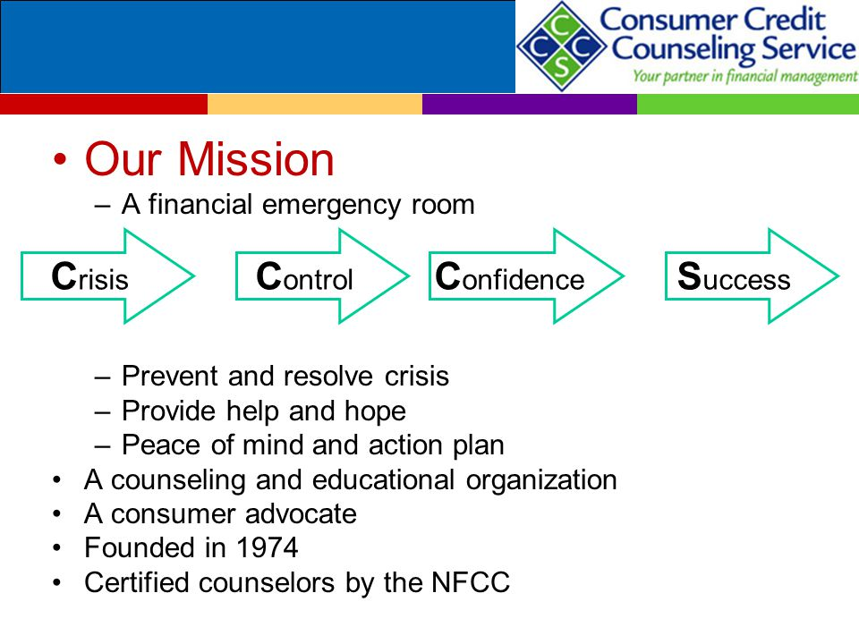 Our Mission –A financial emergency room –Prevent and resolve crisis –Provide help and hope –Peace of mind and action plan A counseling and educational