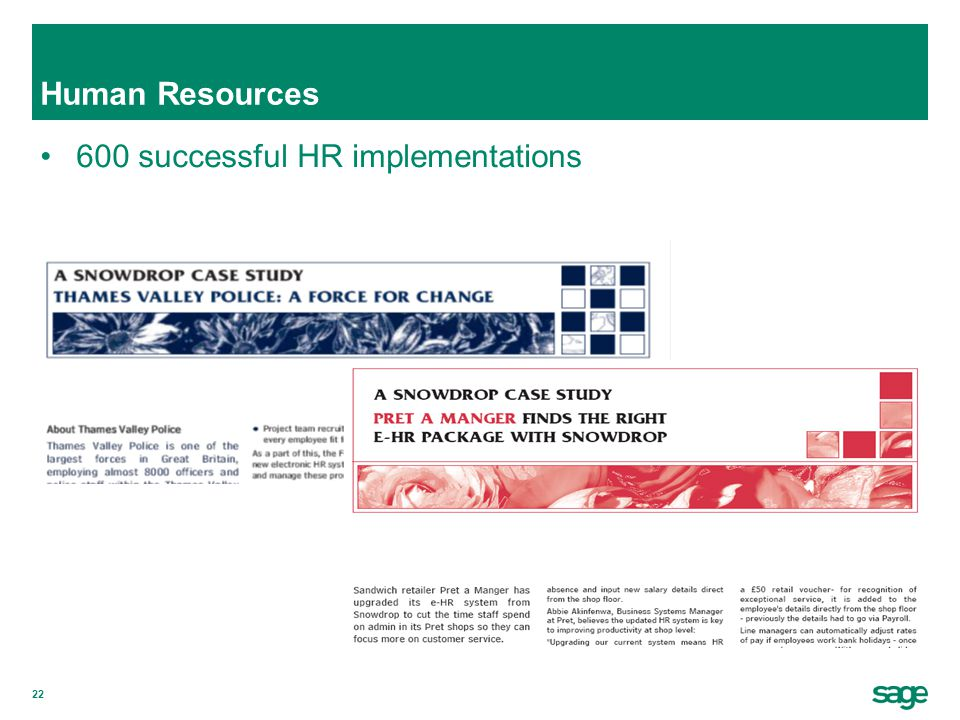 22 Human Resources 600 successful HR implementations Screen dump of Evergreen