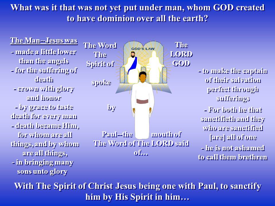 With The Spirit of Christ Jesus being one with Paul, to sanctify him by His Spirit in him… The Man--Jesus was spoke The Word The Spirit of The Word The Spirit of Paul--the mouth of The Word of The LORD said of… Paul--the mouth of The Word of The LORD said of… The LORD GOD What was it that was not yet put under man, whom GOD created to have dominion over all the earth.