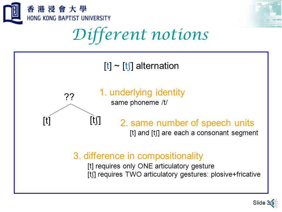 Slide 3 Different notions [t] ~ [t  ] alternation [t] [t  ] ?.