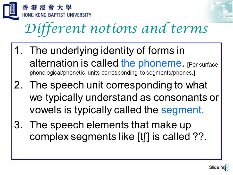 Slide 4 Different notions and terms 1.The underlying identity of forms in alternation is called the phoneme.