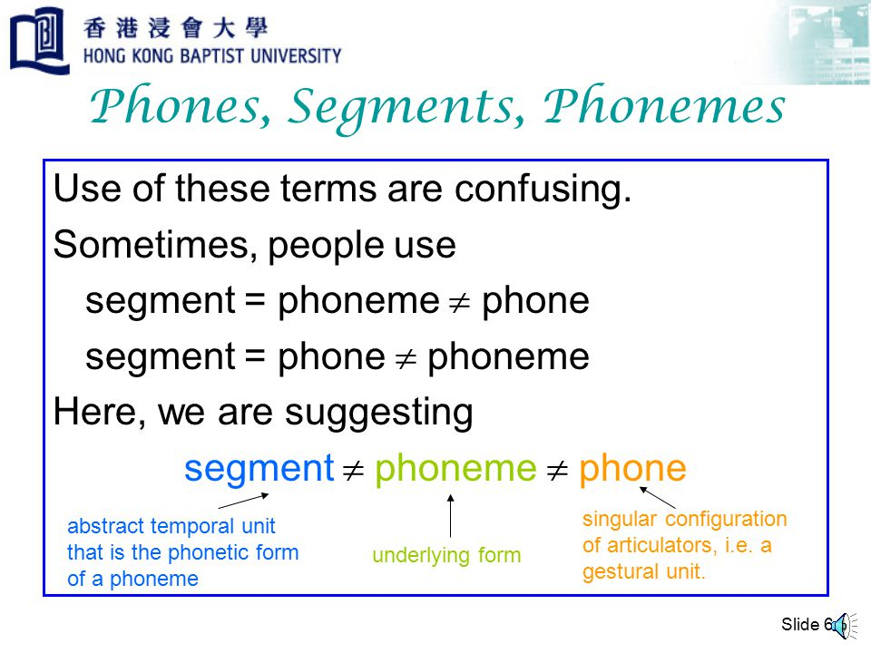 Slide 6 Phones, Segments, Phonemes Use of these terms are confusing.