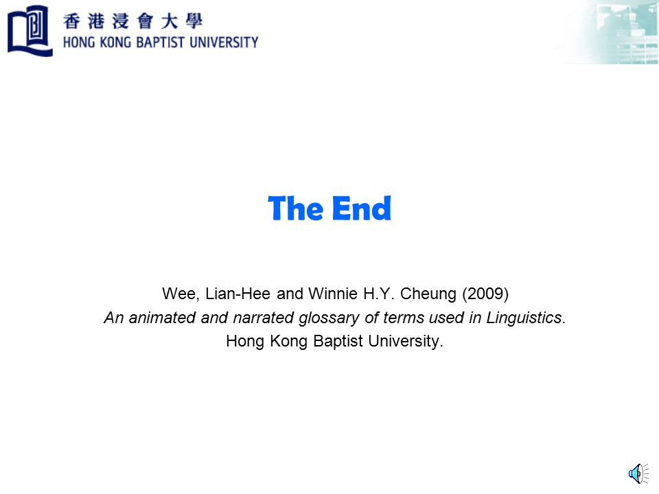 The End Wee, Lian-Hee and Winnie H.Y.
