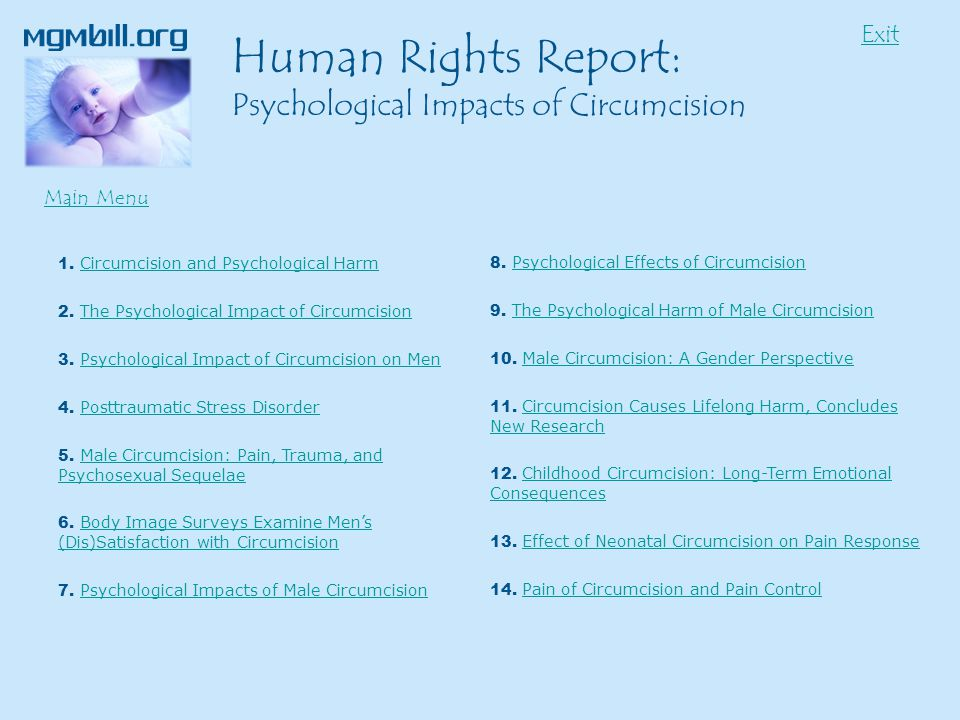 1. Circumcision and Psychological HarmCircumcision and Psychological Harm 2.
