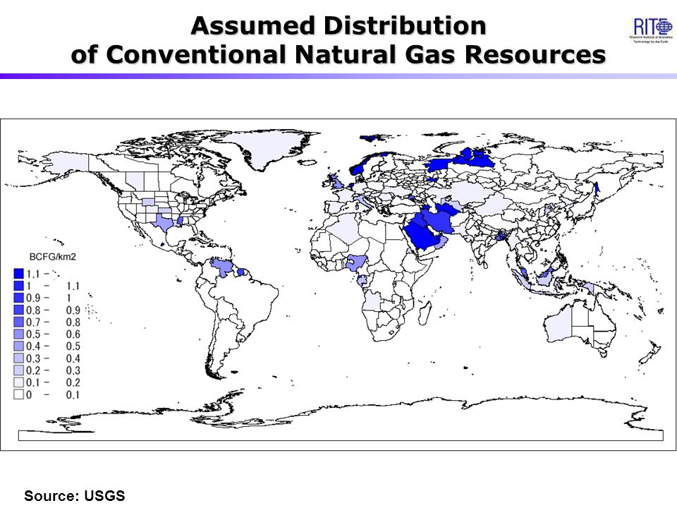 Assumed Distribution of Conventional Natural Gas Resources Source: USGS