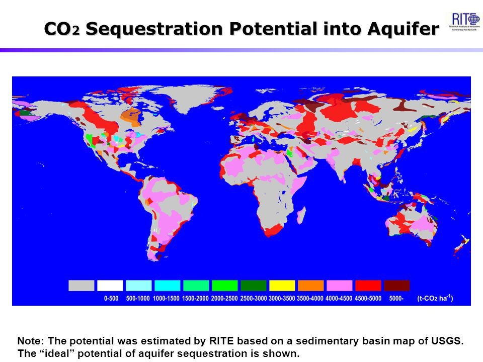 "CO 2 Sequestration Potential into Aquifer Note: The potential was estimated by RITE based on a sedimentary basin map of USGS. The ""ideal"" potential of"