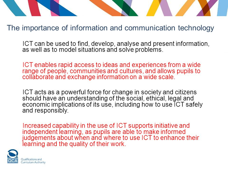 ICT can be used to find, develop, analyse and present information, as well as to model situations and solve problems.