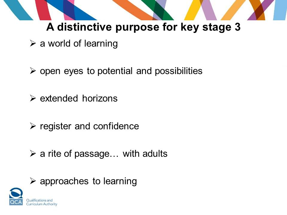 A distinctive purpose for key stage 3  a world of learning  open eyes to potential and possibilities  extended horizons  register and confidence  a rite of passage… with adults  approaches to learning