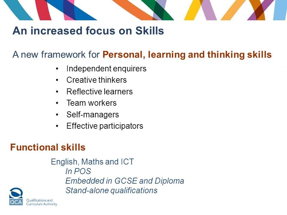 An increased focus on Skills A new framework for Personal, learning and thinking skills Independent enquirers Creative thinkers Reflective learners Team workers Self-managers Effective participators Functional skills English, Maths and ICT In POS Embedded in GCSE and Diploma Stand-alone qualifications