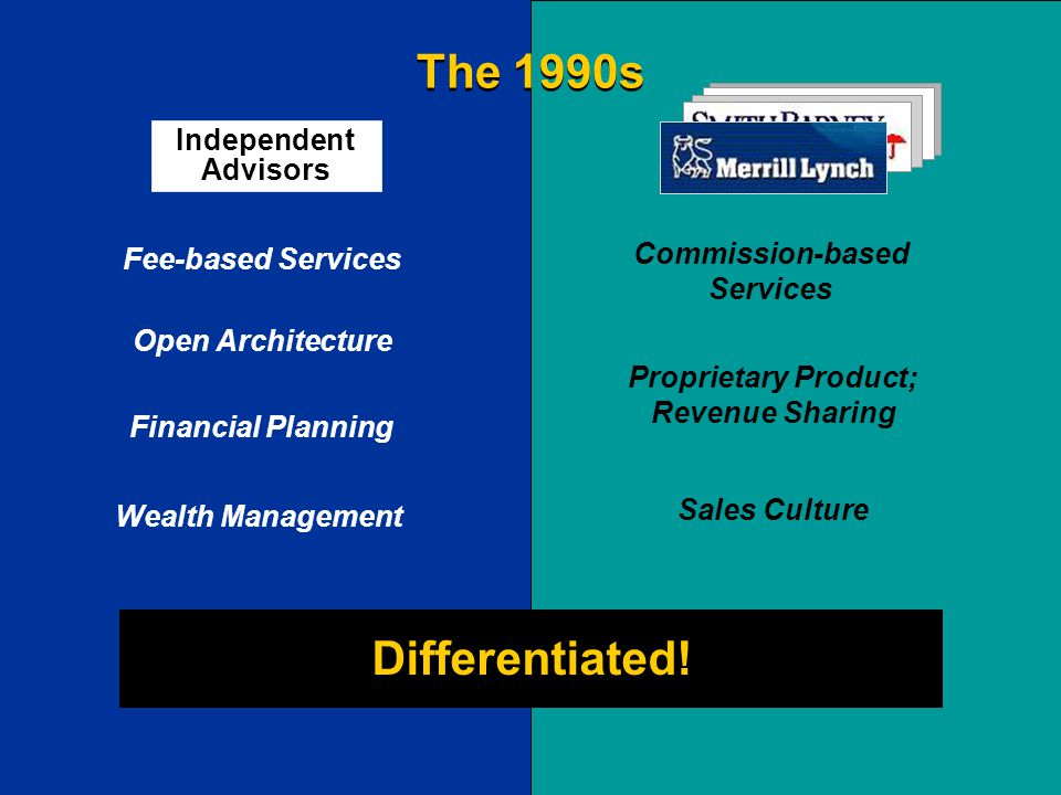 Fee-based Services Financial Planning Open Architecture Wealth Management Commission-based Services Sales Culture Proprietary Product; Revenue Sharing Differentiated.