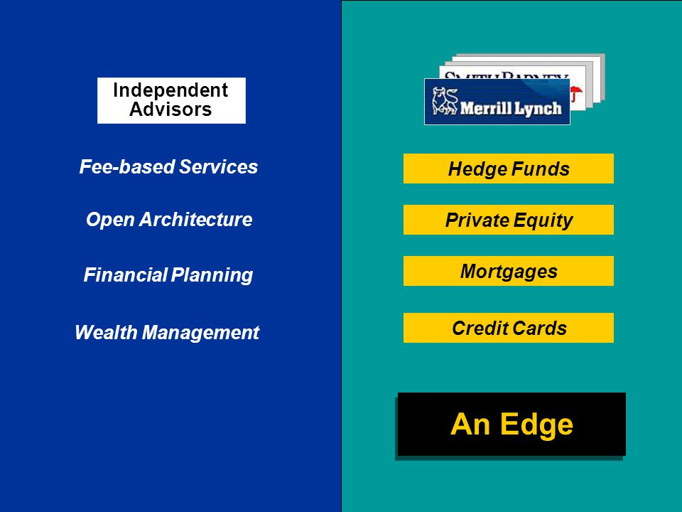 Fee-based Services Financial Planning Open Architecture Wealth Management Independent Advisors Hedge Funds Private Equity Mortgages Credit Cards An Edge