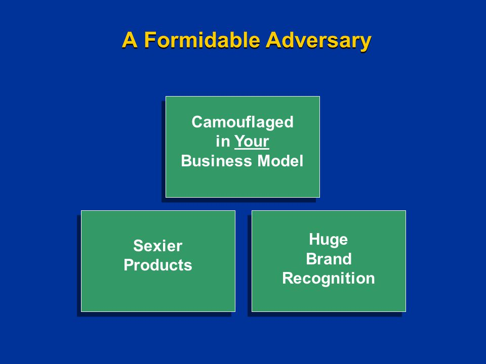 A Formidable Adversary Sexier Products Sexier Products Camouflaged in Your Business Model Camouflaged in Your Business Model Huge Brand Recognition Huge Brand Recognition