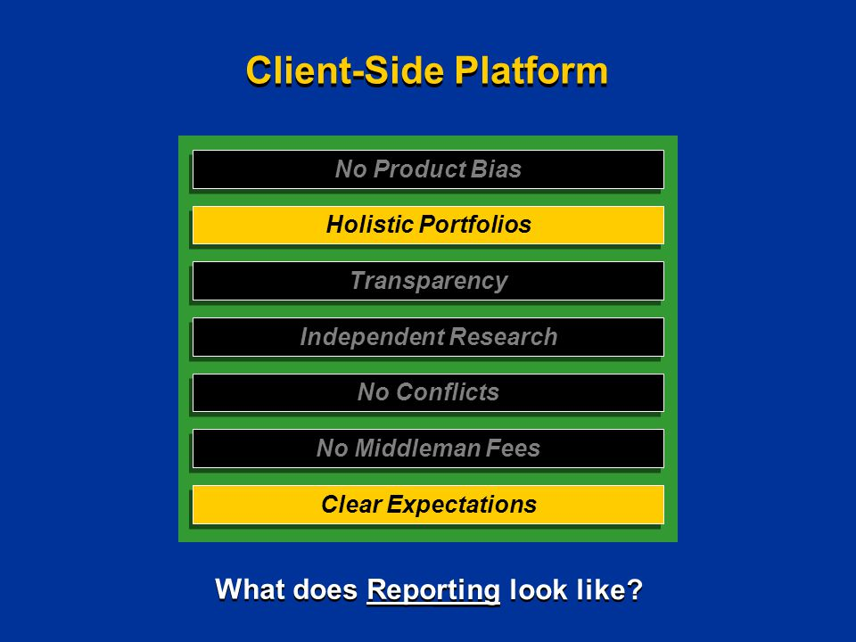 No Product Bias Holistic Portfolios Transparency Independent Research No Conflicts No Middleman Fees Clear Expectations Client-Side Platform What does Reporting look like