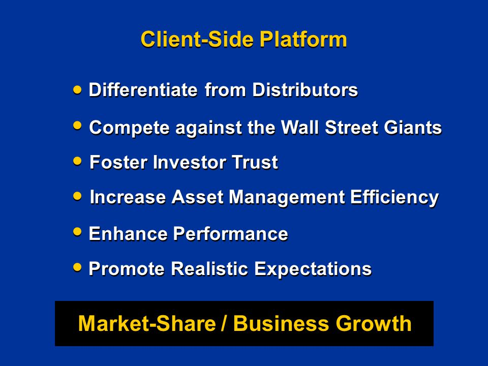 Client-Side Platform Differentiate from Distributors Market-Share / Business Growth Compete against the Wall Street Giants Foster Investor Trust Increase Asset Management Efficiency Enhance Performance Promote Realistic Expectations