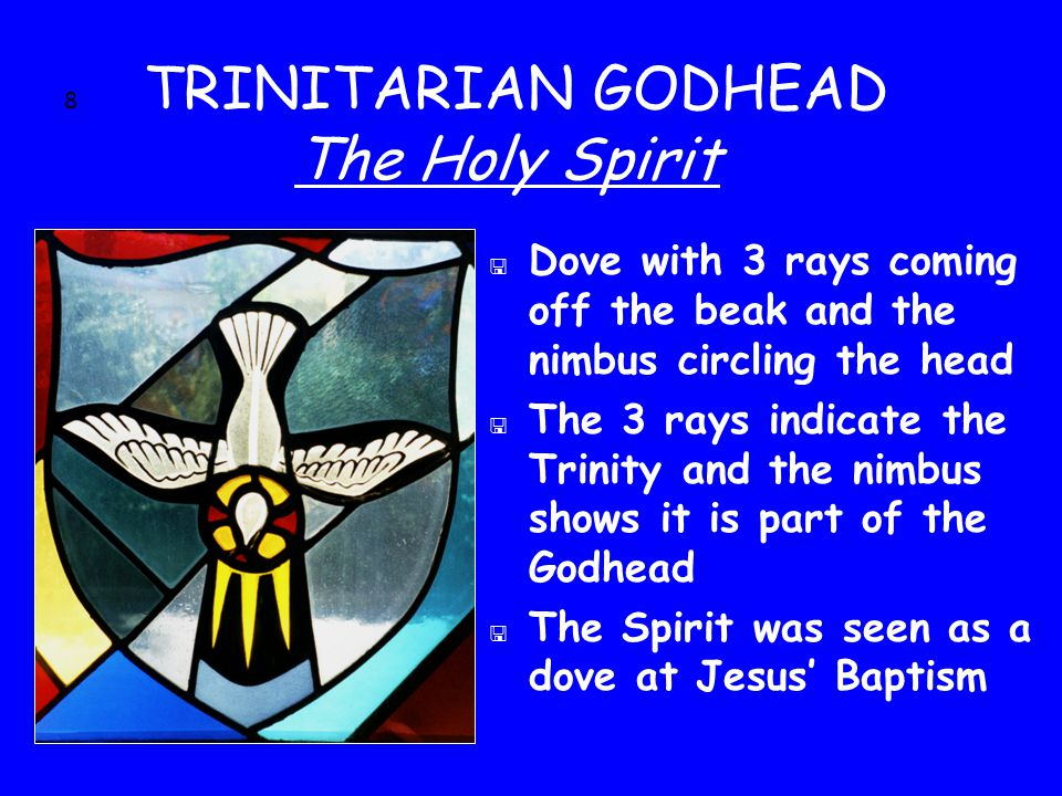 8 TRINITARIAN GODHEAD The Holy Spirit < Dove with 3 rays coming off the beak and the nimbus circling the head < The 3 rays indicate the Trinity and the nimbus shows it is part of the Godhead < The Spirit was seen as a dove at Jesus' Baptism