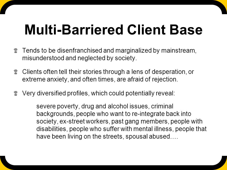 Multi-Barriered Client Base Tends to be disenfranchised and marginalized by mainstream, misunderstood and neglected by society.