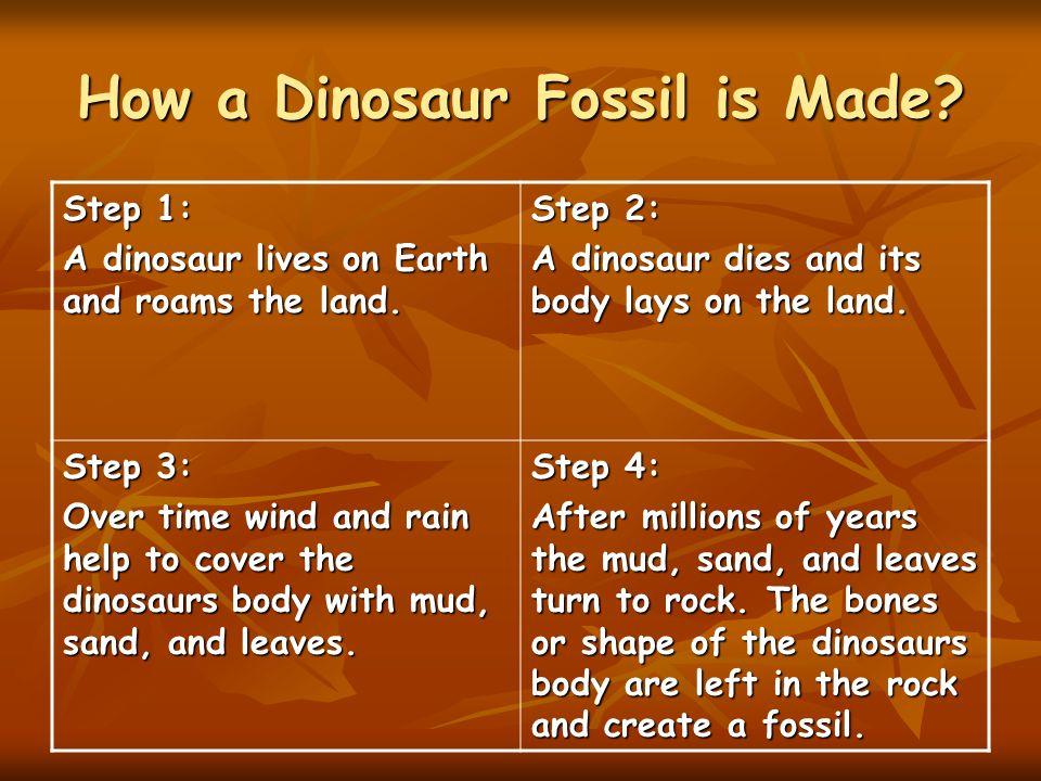 How a Dinosaur Fossil is Made.Step 1: A dinosaur lives on Earth and roams the land.